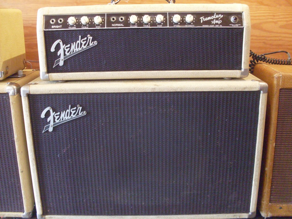 Rarest of the production Fenders. This is the 6G9 Tremolux that they made for about a minute in 1961. The only Fender amp made with EL-84 tubes until the modern era. It still sounds like a Fender but at 20 watts or so, it's a very useful amp with lots of chime and brightness. Oh, and there are only a few hundred of them. $6500