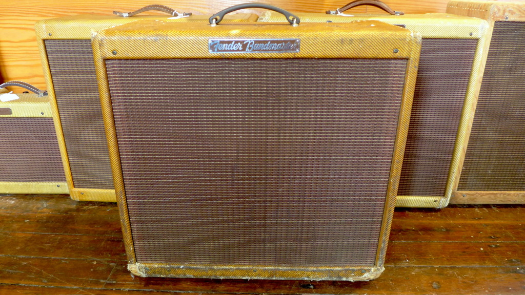"My all time favorite amp is the narrow panel Bandmaster. 26 watts of pure Fender goodness through 3 10"" Jensen P10R's. Sweet when you want sweet and nasty when you need nasty. All original except for 5 caps. Speakers have original cones so if you want to gig this one, put a set of re-cones or modern speakers in it. 60 year old paper doesn't like to be pushed too hard. $11500"
