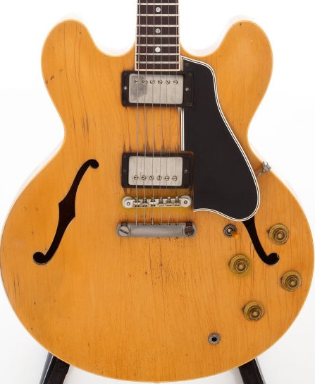 One of my favorites-a 59 ES-335 blonde (natural) played to death and still rockin'. That's the bottom of the line but, ironically, the top of the price heap. Go figure.