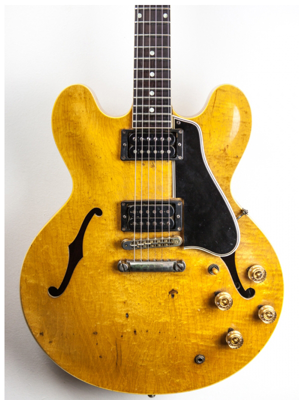 This well played 59 ES-335 was owned by Peter Green, Victor Brox and Jackie Lomax. Jackie Lomax played it for more than 40 years.