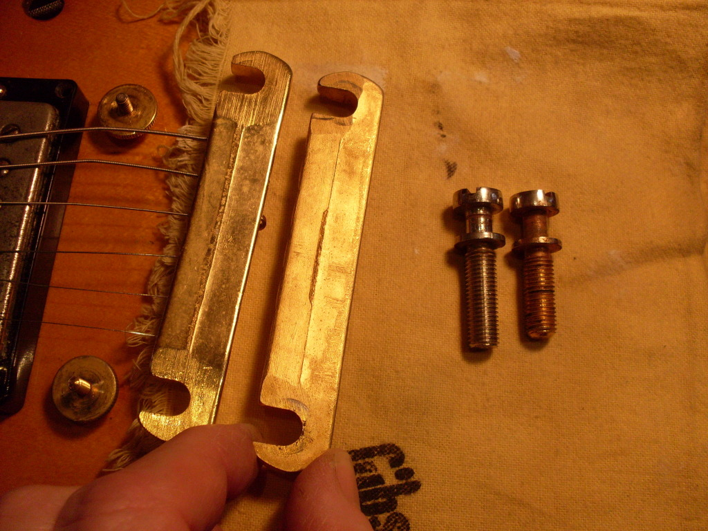 "Correct ""short seam"" tailpiece on the right. Correct ""long thread"" stud on the left. These parts won't really affect how the guitar sounds but I'm sure you would rather have the right era parts on your expensive vintage guitar."