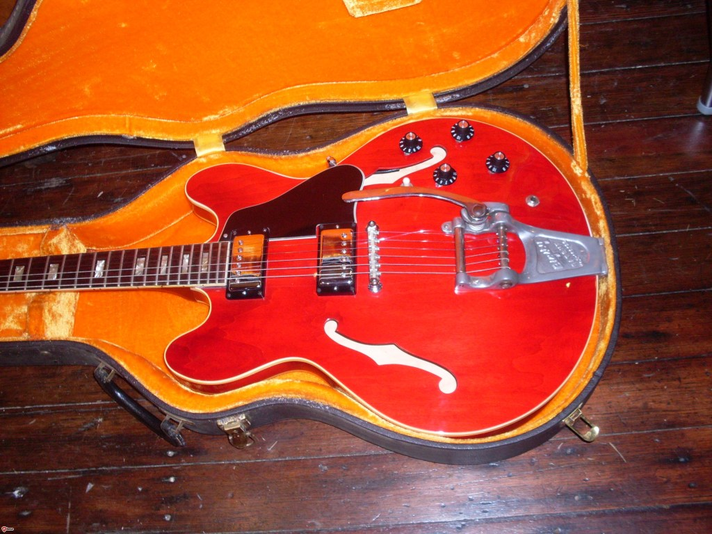 I recently sold this near mint 68 ES-335 for $5500. It had been re-fretted and the binding were a little beat up but otherwise it was really clean. What would I rather have? A new 59 reissue for $6500 or a vintage 68 and $1000 in my pocket. Hmmm.