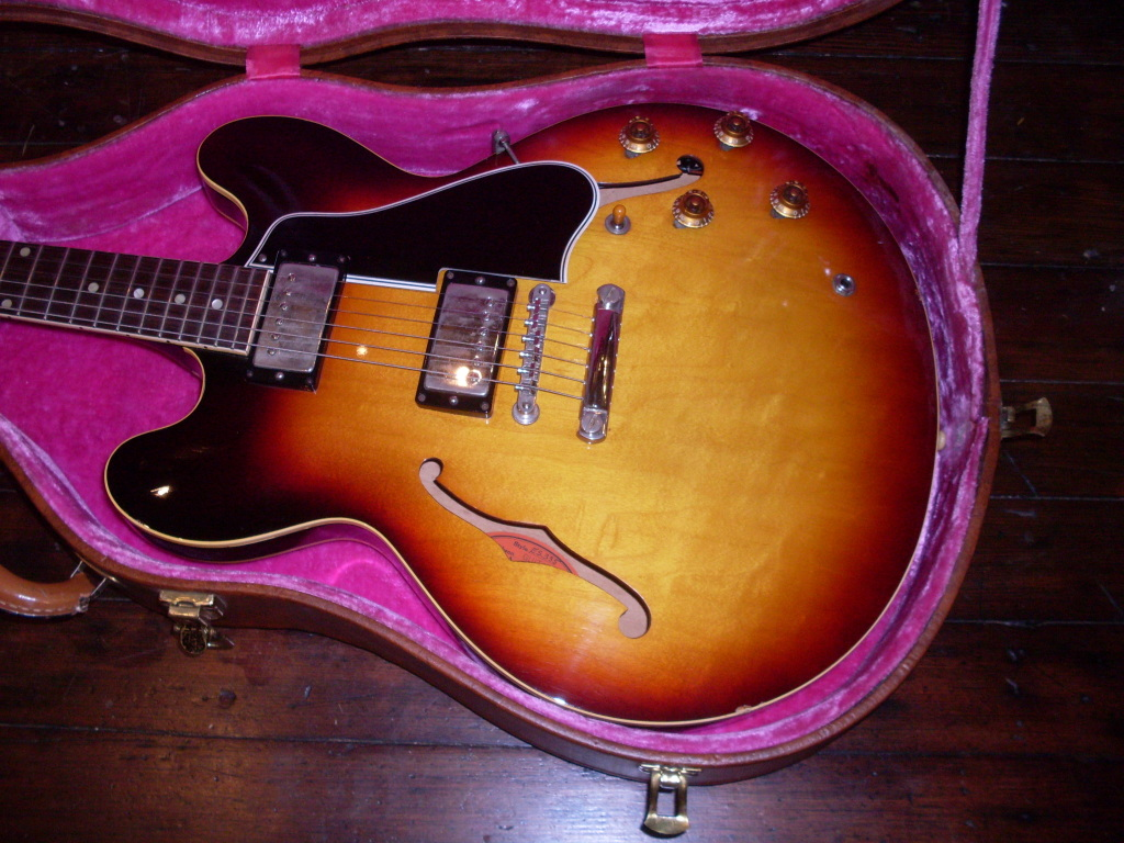 This near mint 59 335 had been re-fretted probably because it originally had small frets. It still was a top dollar guitar. And yes, the nickel is a little tarnished on the neck pickup cover. Take off a buck.