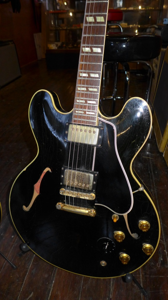 I am dead certain that this is the very first black ES-345 made and maybe even the first black ES thinline. It is a first rack (short leg PAF and huge neck) and was shipped in April of 1959. It is awesome.