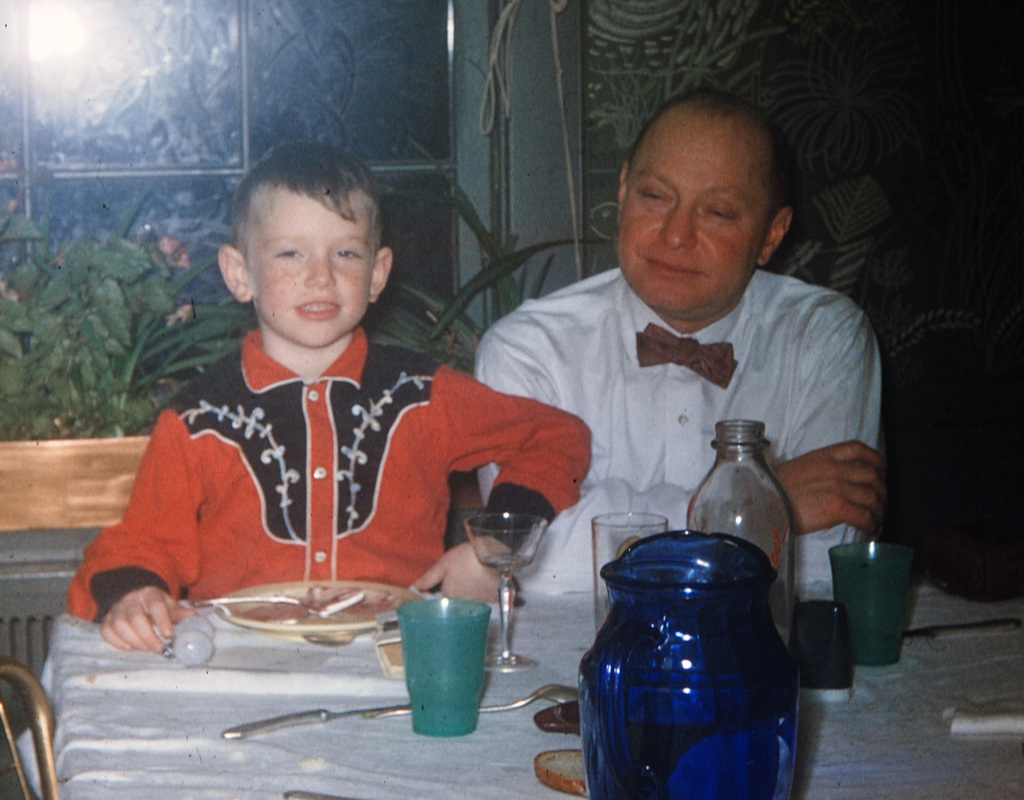 Dad and me in 1958. I think he gave me that haircut. And the cowboy shirt. I had nothing to do with the bow tie, however.