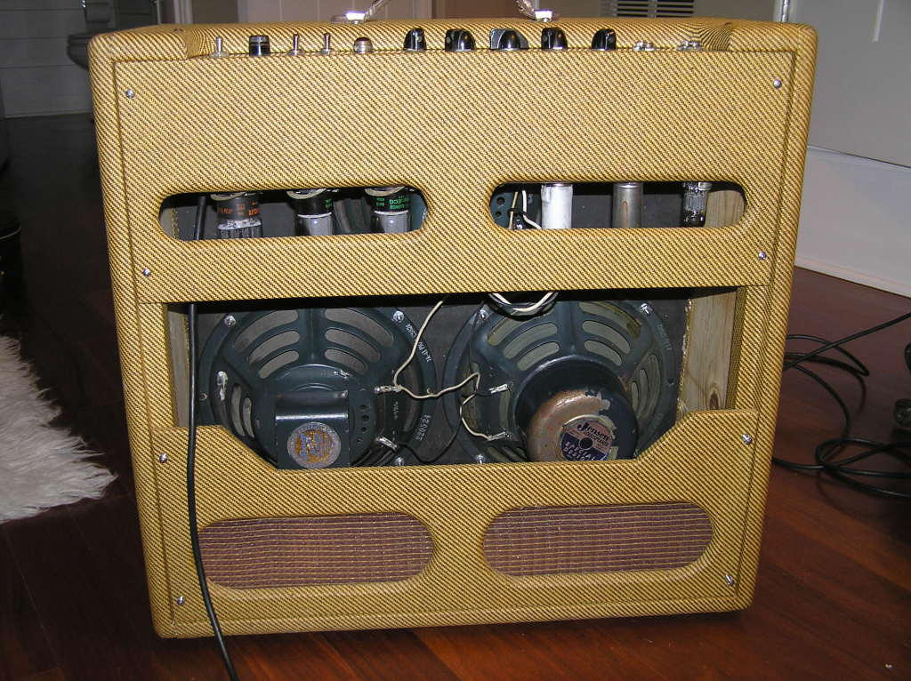 Vintage ten inch Jensens (P10R and P10Q) , 6L6 or 5881 tubes and a tube rectifier seem to be a great combination for hum bucker guitars and especially 335's.